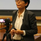 Prof. Ruixue Jia, economics, University of California, San Diego describes standardized testing in China at a lecture Monday.