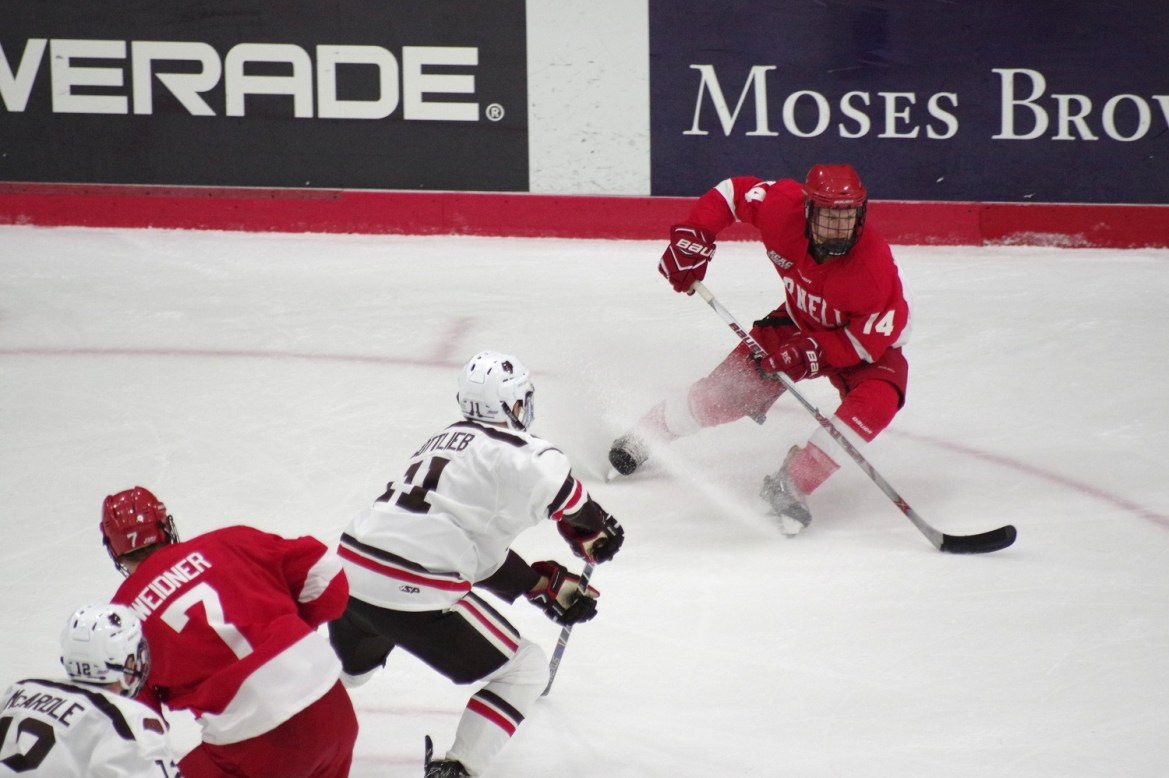 Against Brown, secondary scoring powered Cornell to a win, but sophomore forward Mitch Vanderlaan's hat trick sealed the deal against Yale.