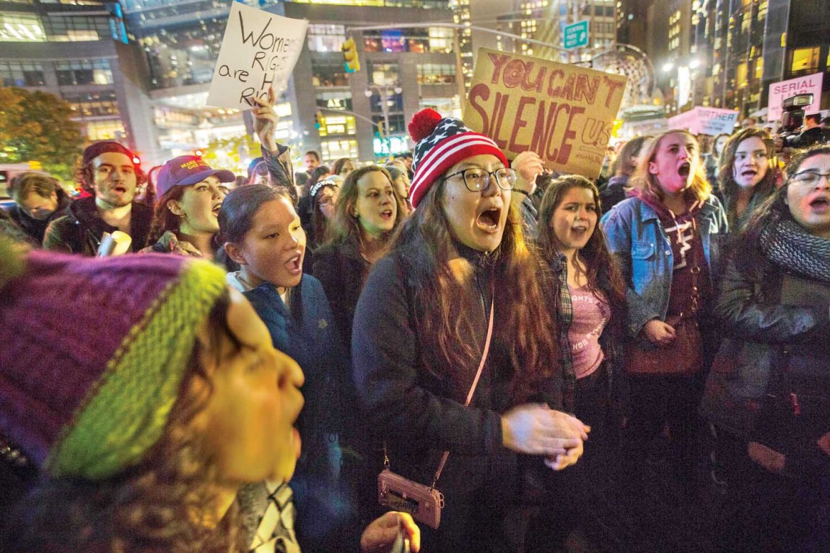 Not my president | Protestors demonstrated against Trump's election from Ithaca to New York city Wednesday.