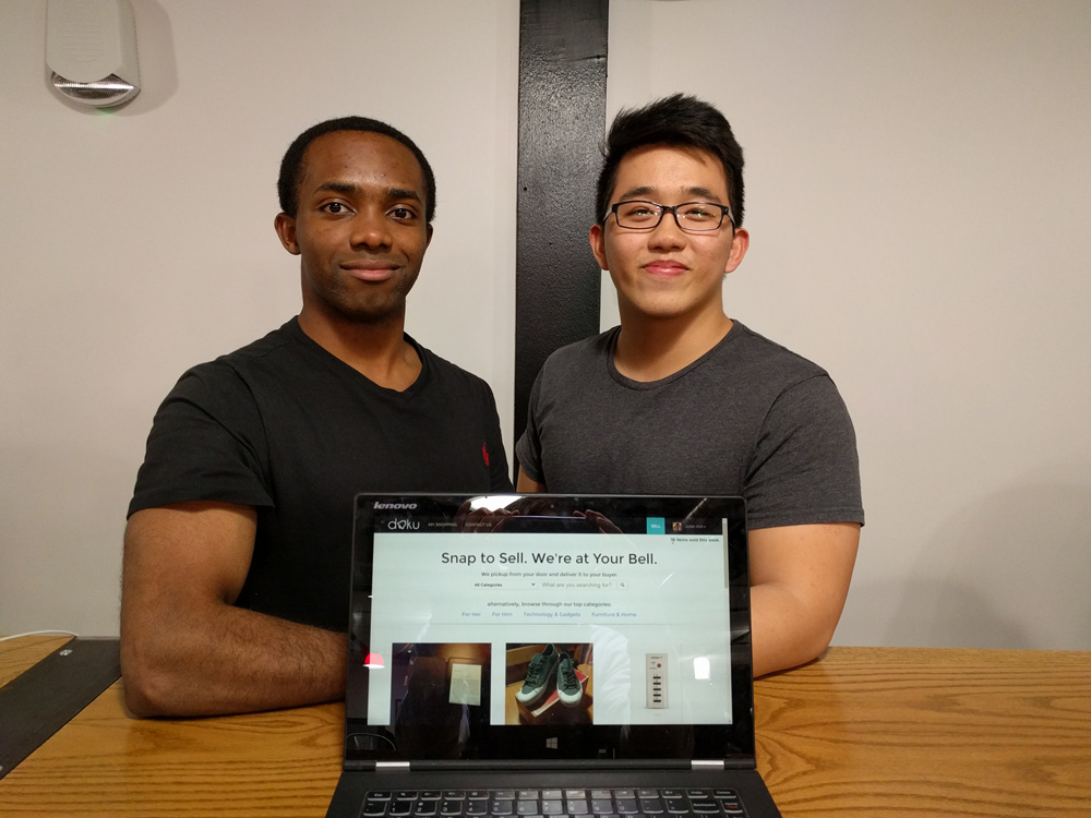 Julian Koh '20 and Jörg Doku '17 developed Doku Market to help students buy and sell textbooks.