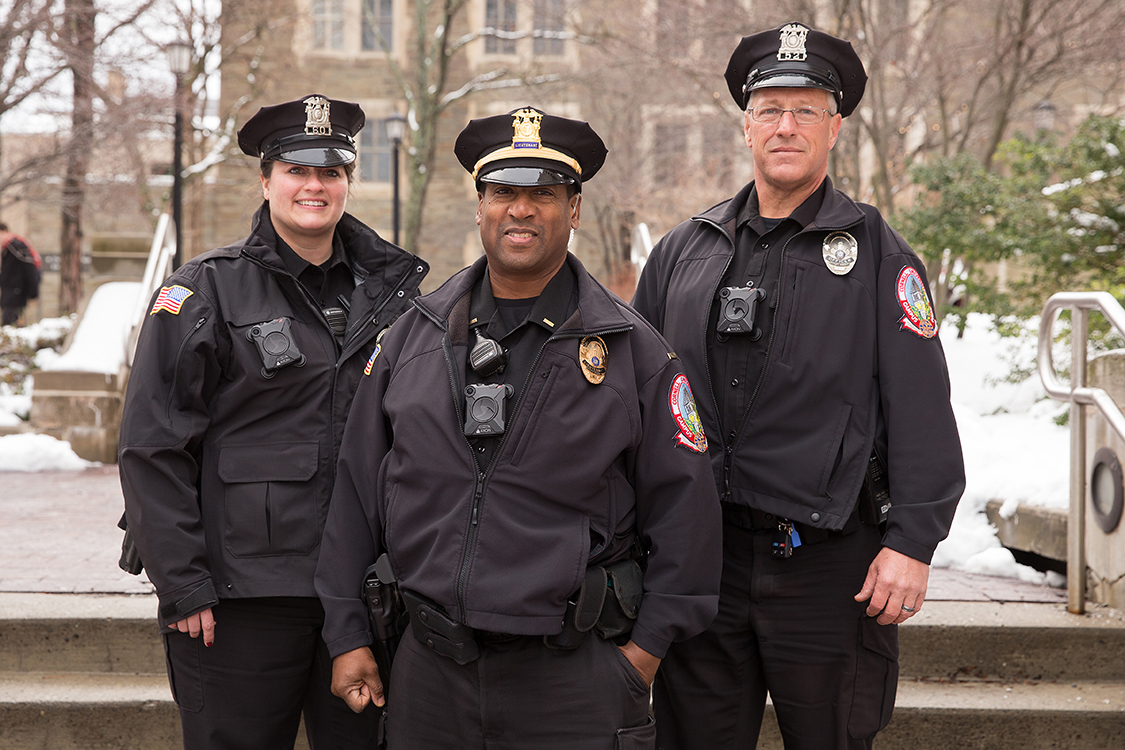 Officer Beverly Van Cleef, left, Lt. Anthony Bellamy and Officer Brett Cary