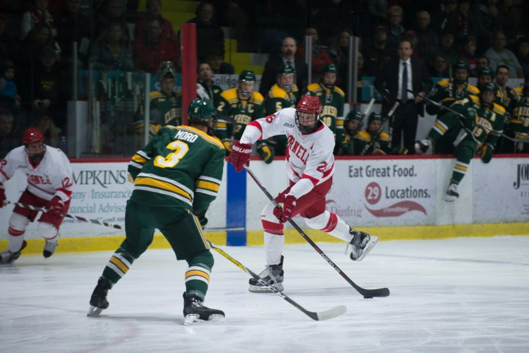 Just over two minutes is all that separated Cornell from its first sweep of North Country since the 2004-05 campaign,