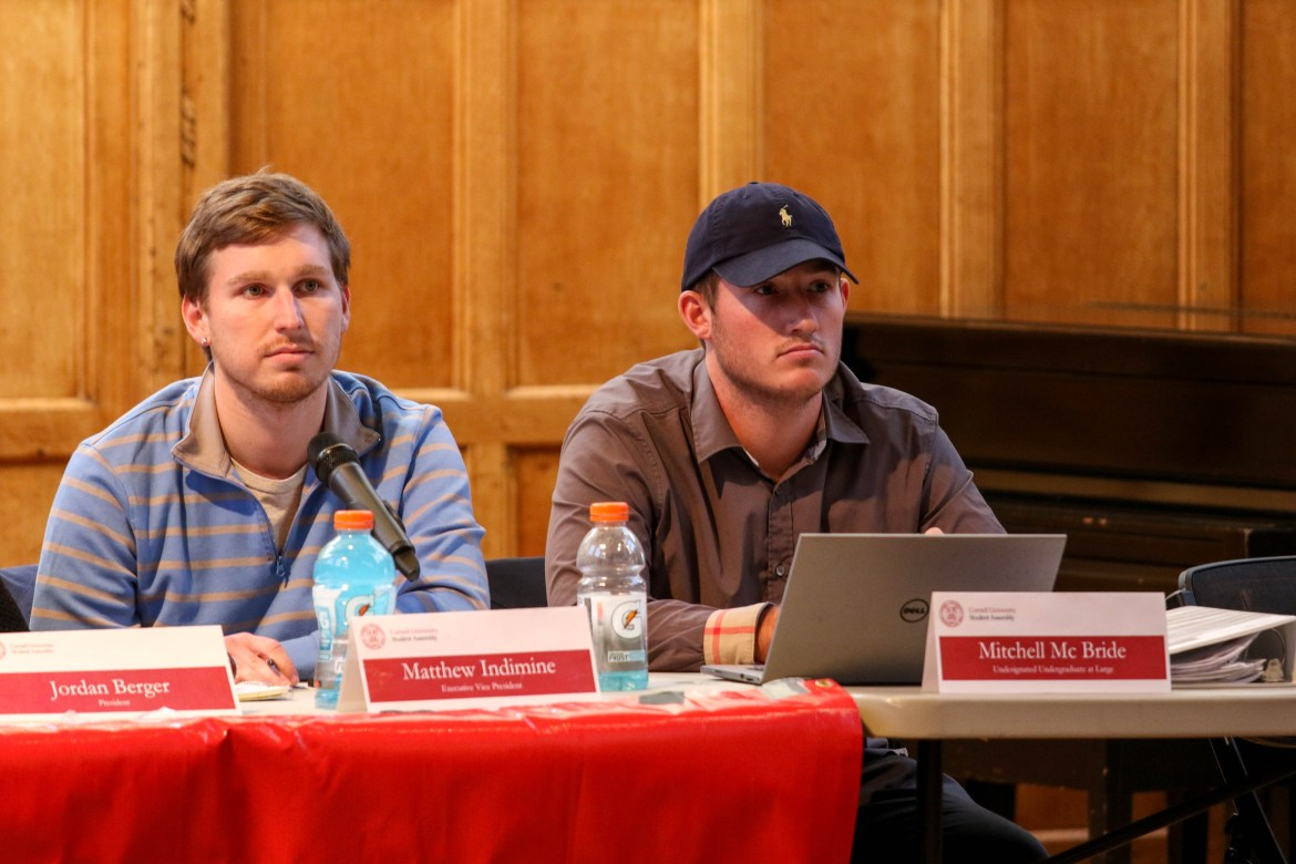 Executive Vice President Matthew Indimine '18 (left) said Thursday that Assemblymember Mitchell McBride '17 may have violated S.A. ethics rules at Tuesday's protest.