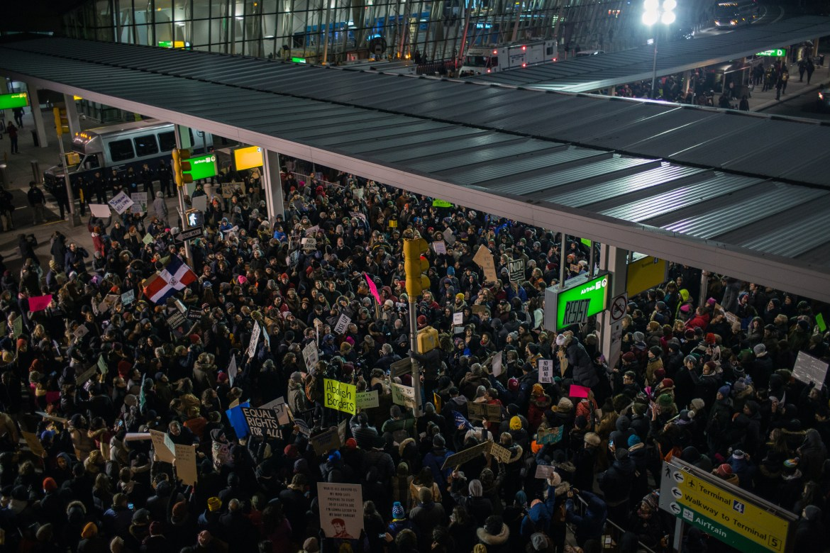 Protesters swarm JFK Airport in opposition to President Trump's immigration ban