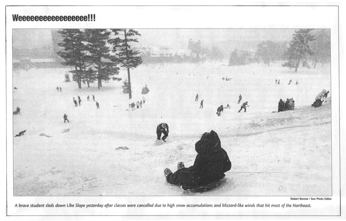 A photo in The Sun from Feb. 15, 2007, shows students sledding down Libe Slope during a partial snow day on Valentine's Day at Cornell.