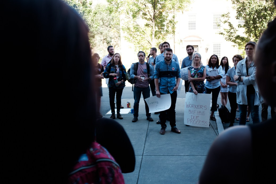 Cornell Graduate Students United organized in support of graduate student Martha Jean-Charles at Caldwell Hall this past September.