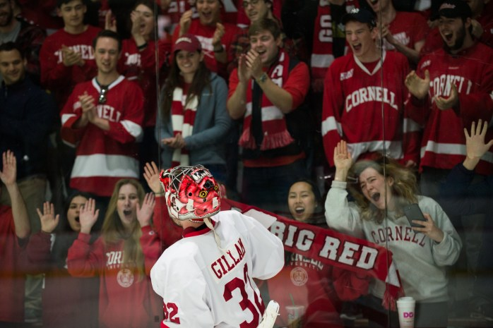 Senior Goaltender Mitch Gillam celebrates with the Lynah Faithful after the Red win the ECAC quarterfinals against Clarkson 2-1. (Cameron Pollack / Sun Photography Editor)