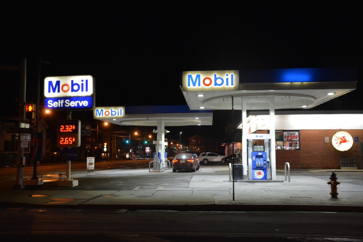 At least one man was stabbed near the Mobil gas station on Wednesday night.