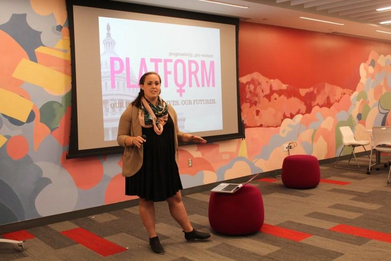 Jennifer Mandelblatt '17 shares about her entrepreneurship experience with her non-profit Platform during eHub's Creating Herstory event on Wednesday.