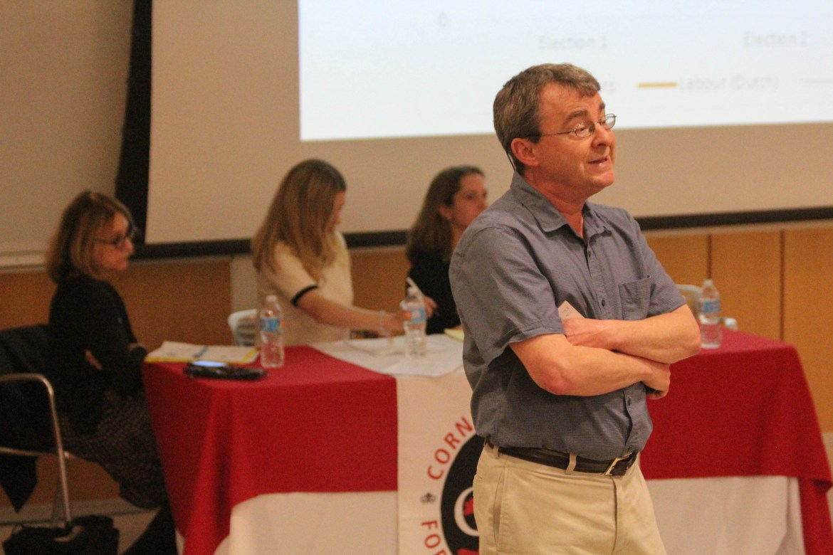 Prof. Christopher Way discusses the results of the recent French election during the CIES Roundtable in PSB on Thursday. (Corinne Kenwood / Sun Staff Photographer).