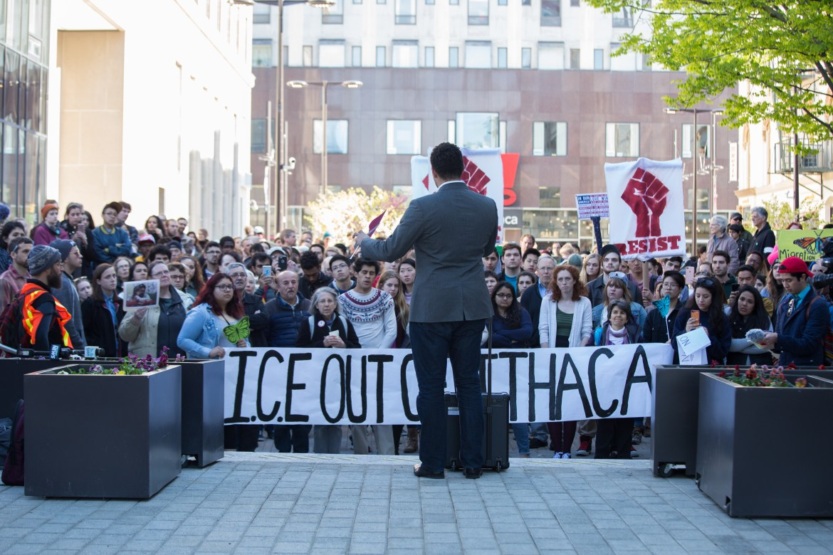 José Guzman-Lopez was remanded to U.S. Marshals' custody on Friday. Hundreds protested his arrest by ICE agents earlier this month in Ithaca.