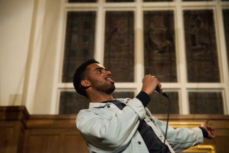 Paul Russell, known as Paulitics, performs in Risley Hall. (Cameron Pollack / Sun Photography Editor)