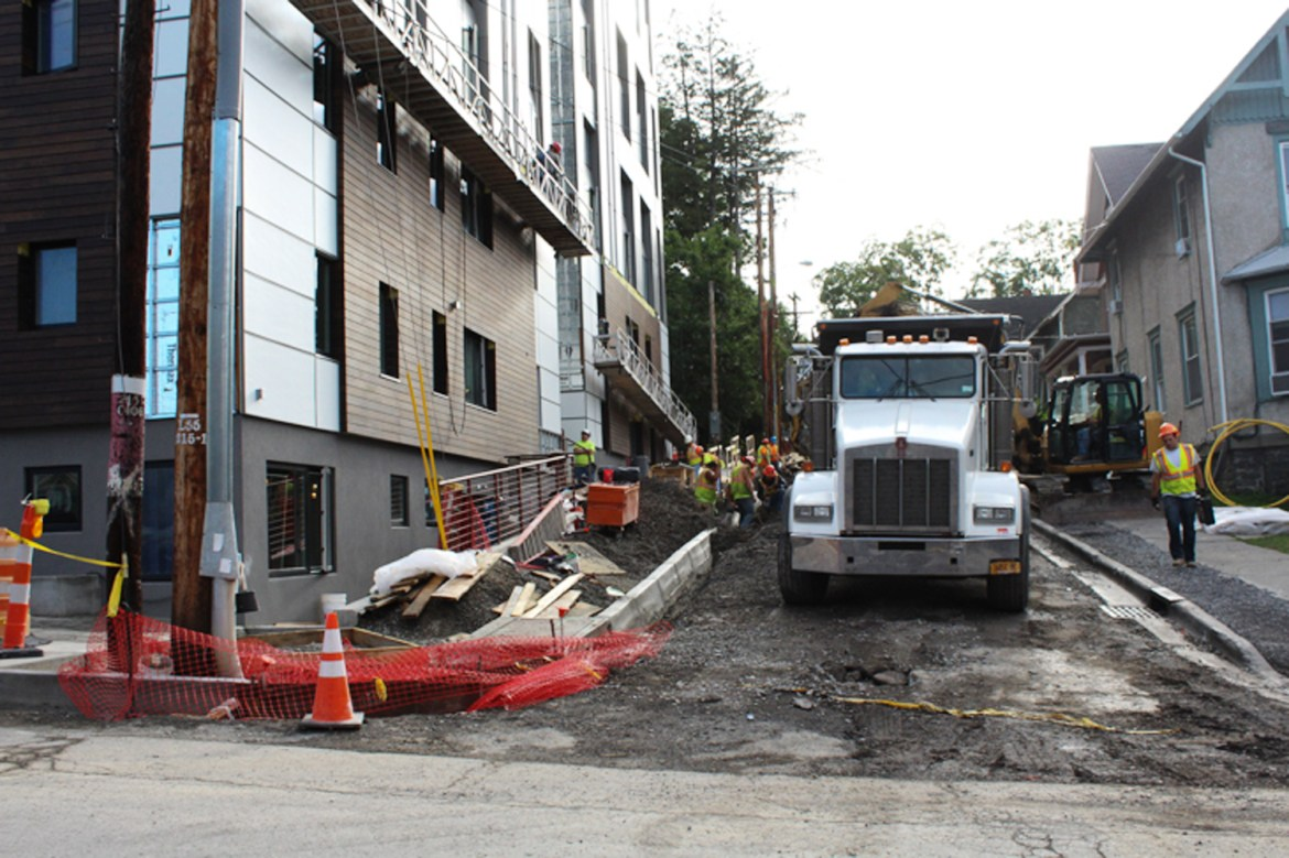 While construction was supposed to be completed over the summer, work continues on projects like 201 College Avenue, pictured above.