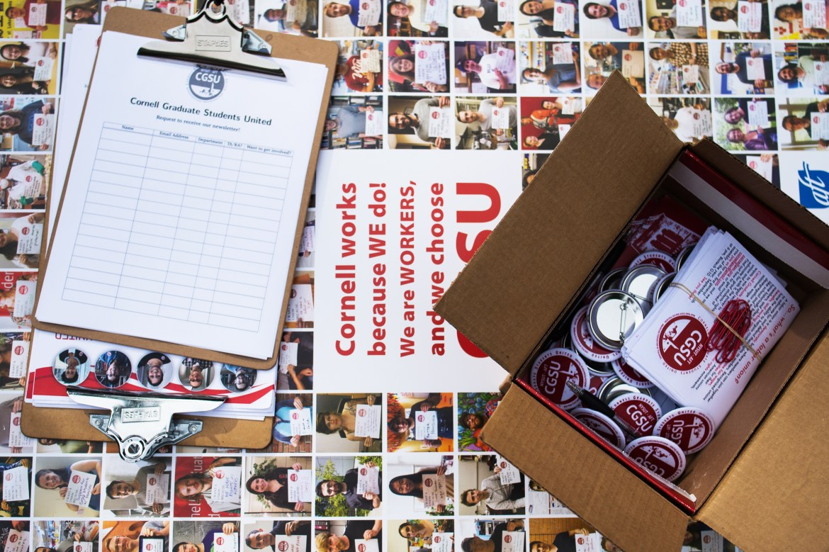 Cornell Graduate Students united organizers hosted a pre-orientation outreach session at Bailey Hall on Monday to recruit new members and gear up for the coming semesters.