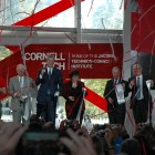 From right to left: Chairman of the Board of Trustees Robert Harrison '76, President of the Technion Israel Institute of Technology Peretz Lavie, former New York City Mayor Michael Bloomberg, Cornell President Martha Pollack, current New York City Mayor Bill de Blasio and Chairman of the Cornell Tech Board of Overseers Lowell McAdam.
