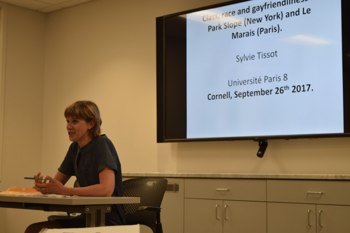 Sylvie Tissot presents her research findings about gay-friendliness in both New York City and Paris at a lecture Tuesday.