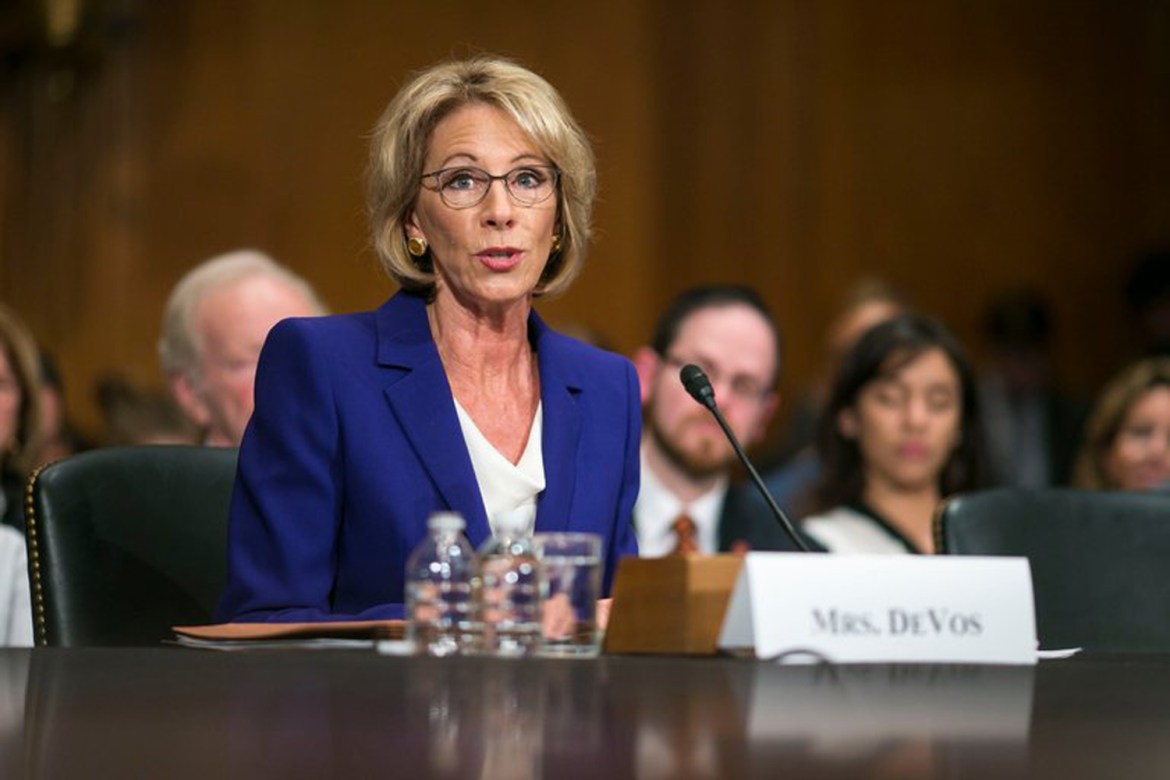 Betsy DeVos, the education secretary.