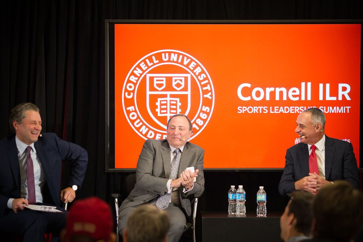 (Left to right) Jeremy Schaap '91, ESPN personality, Gary Bettman '74, NHL Commissioner, and Rob Manfred '80, MLB Commissioner, speak at ILR Sports Leadership Summit.