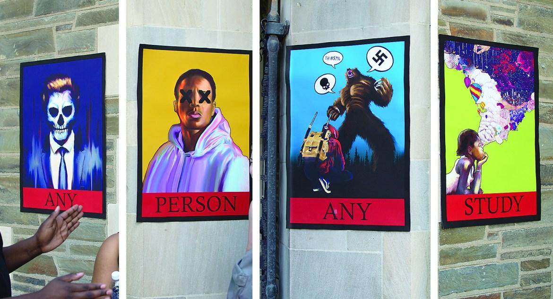 Khansa Mahum's '19 artwork on the Willard Straight Hall walls during the BSUoccupation.