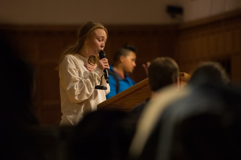 """Elise Czuchna '18 addressed """"laughing and eye rolling,"""" texting, and tardiness of assemblymembers during the meeting when WRC representatives were appealing a budget cut to one of it's programs."""