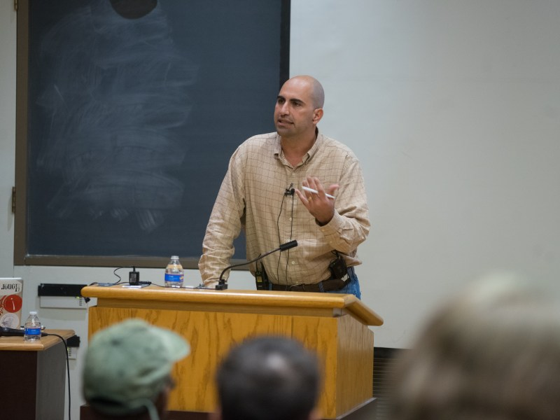 "Steven Salaita discusses his recent books and provides context on various inequality struggles around the world in his talk, titled ""Native and Palestinian Activism in the Age of U.S. Imperialism,"" at Goldwin Smith Hall on November 15, 2017. (Omar Abdul-Rahim/Staff Photographer)"