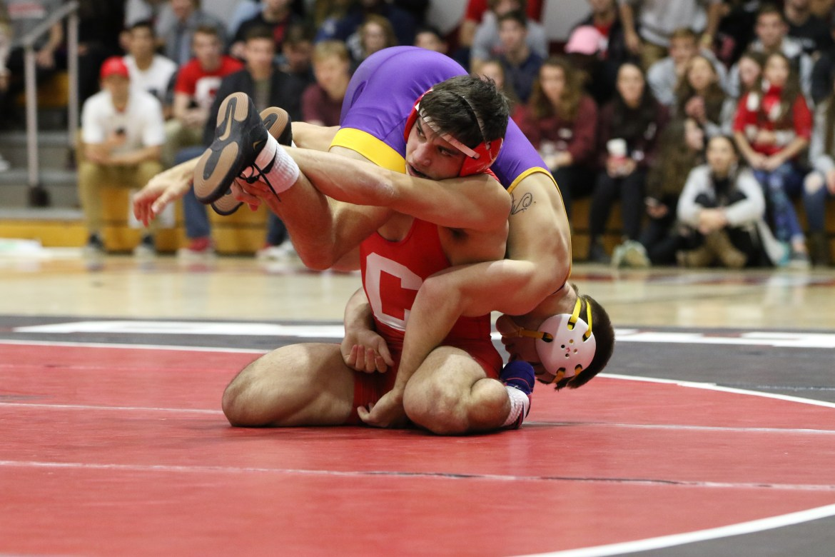 Freshman Yianni Diakomihalis became the 19th Cornellian to win his bracket at the Cliff Keen Invitational by defeating Northern Iowa's Josh Alber, 8-2. Alber is the same wrestler Diakomihalis is pictured competing against above.