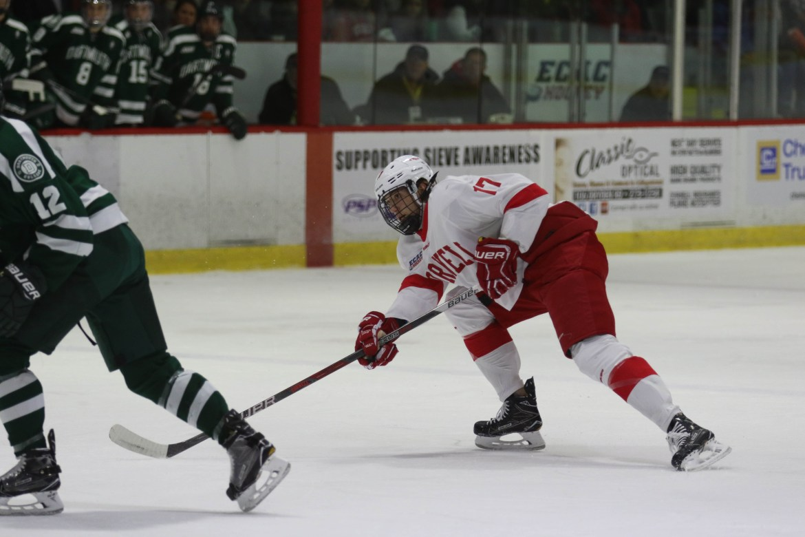 Cornell has completed a season sweep of Harvard, thanks in part to a natural hat trick from junior forward Anthony Angello.
