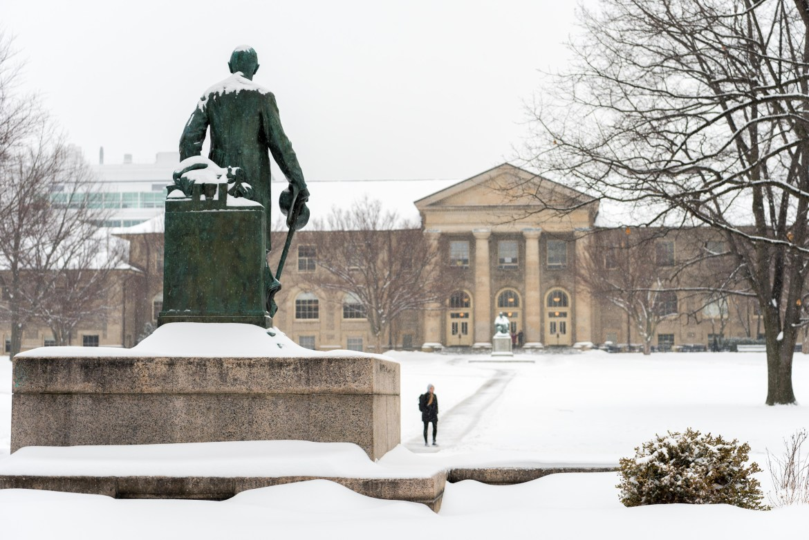 Students trudged to class through the heavy snow on Feb. 6, 2018.