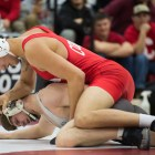 Freshman No. 3 Ben Darmstadt's win by fall was crucial in securing the Red's tight victory against Lock Haven.