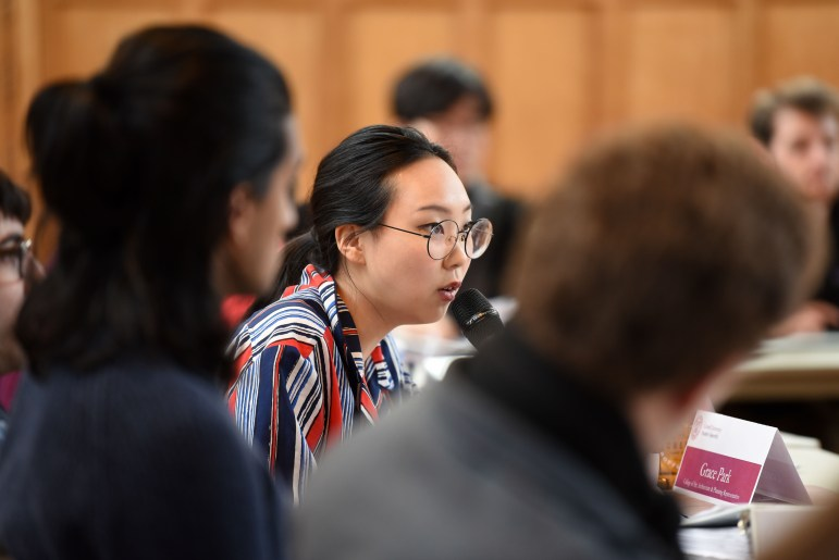 Grace Park, AAP Representative, at the Student Assembly meeting on Thursday, during which the SA unanimously voted to recommend that the University accept American Sign Language for foreign language requirements.