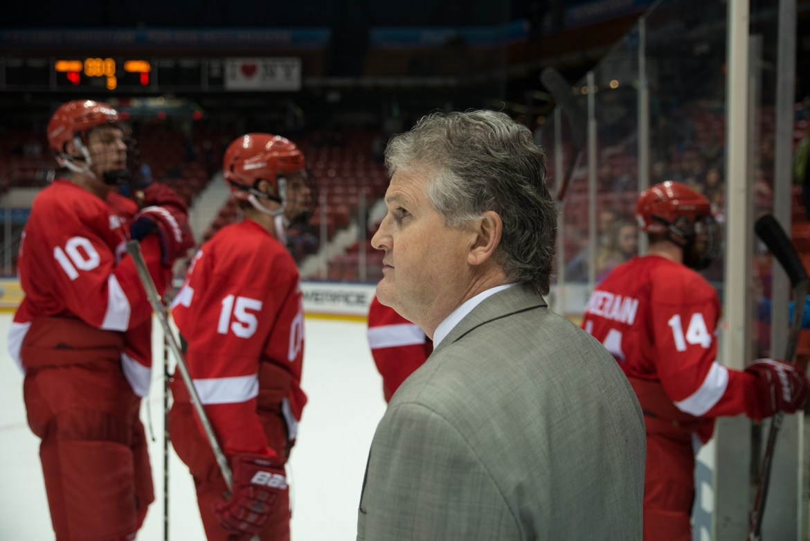 Head coach Mike Schafer '86 joins five of his players on the Ivy League honor roll.