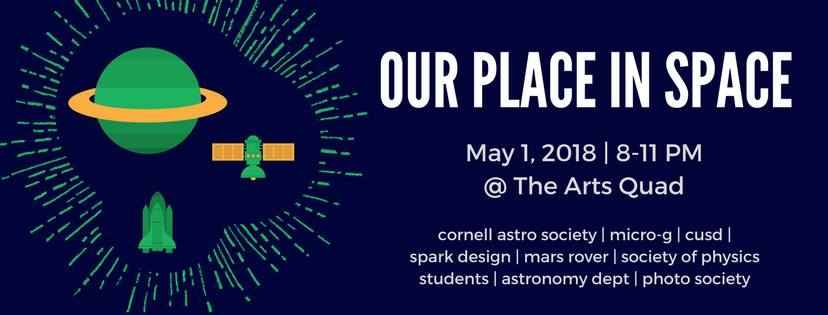 Cornell Astronomical Society along with eight other organizations are hosting the Our Place in Space event May 1st to raise funds for Ithaca Welcomes Refugees and Sustainable Tompkins' Youth Climate Challenge.