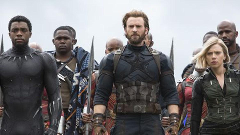 Black Panther (Chadwick Boseman), Captain America (Chris Evans) and Black Widow (Scarlet Johannson) prepare for battle in Avengers: Infinity War.