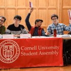 As of Thursday morning, it's an open question whether Varun Devatha '19, center, or Dale Barbaria '19, second from right, will be the next Student Assembly president.