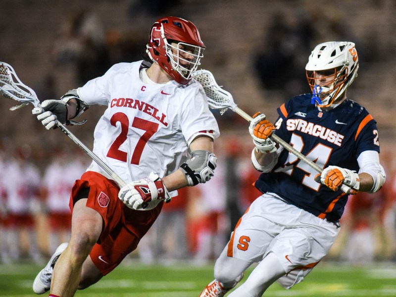 Cornell downed Syracuse at home on April 10, and will face the Orange on the road at 7:15 p.m. Sunday.
