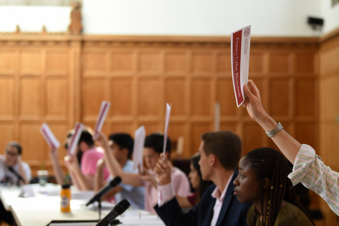 Student Assembly meeting at Willard Straight Hall on August 30th, 2018.
