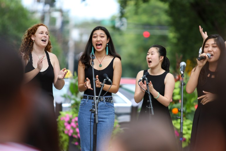 After Eight A Cappella performs at C.U. Downtown. More than ten student groups took to the stage over the course of the afternoon.