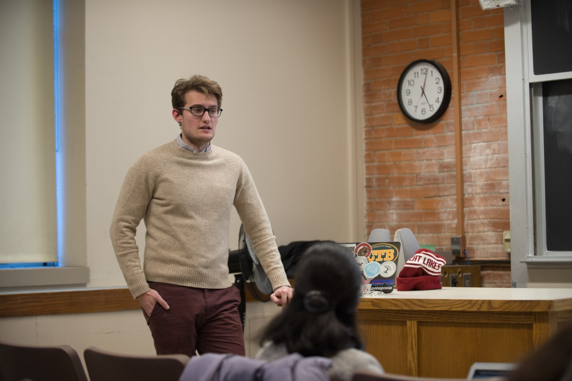 Matt Jirsa '19 speaks at an info session on a Mental Health Task Force in Rockefeller Hall, Feb. 6, 2018.