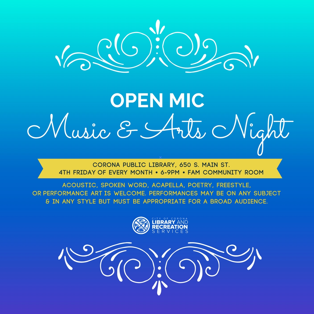Art Garage Open Mic Open Mic Music Arts Night City Calendar City Of Corona