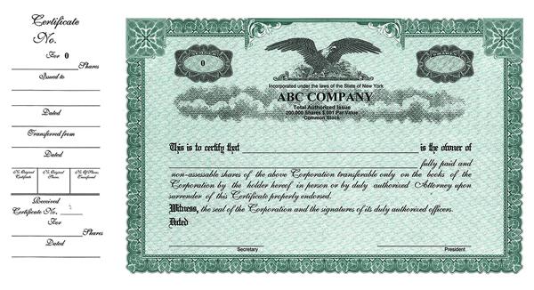 Stock Certificates  Custom Stock Certificates  Custom Sidestub