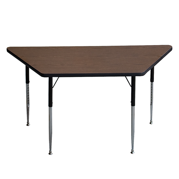 Series L Adjustable Height Single Desk Walnut 57 Correll A3060-trp-01 High Pressure Trapezoid Shape