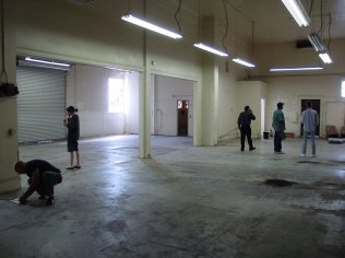 the open warehouse before construction of the studios
