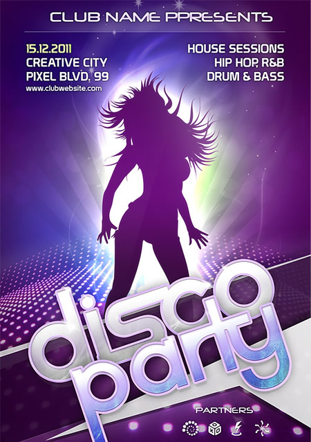 Disco Party Flyer Template (PSD)