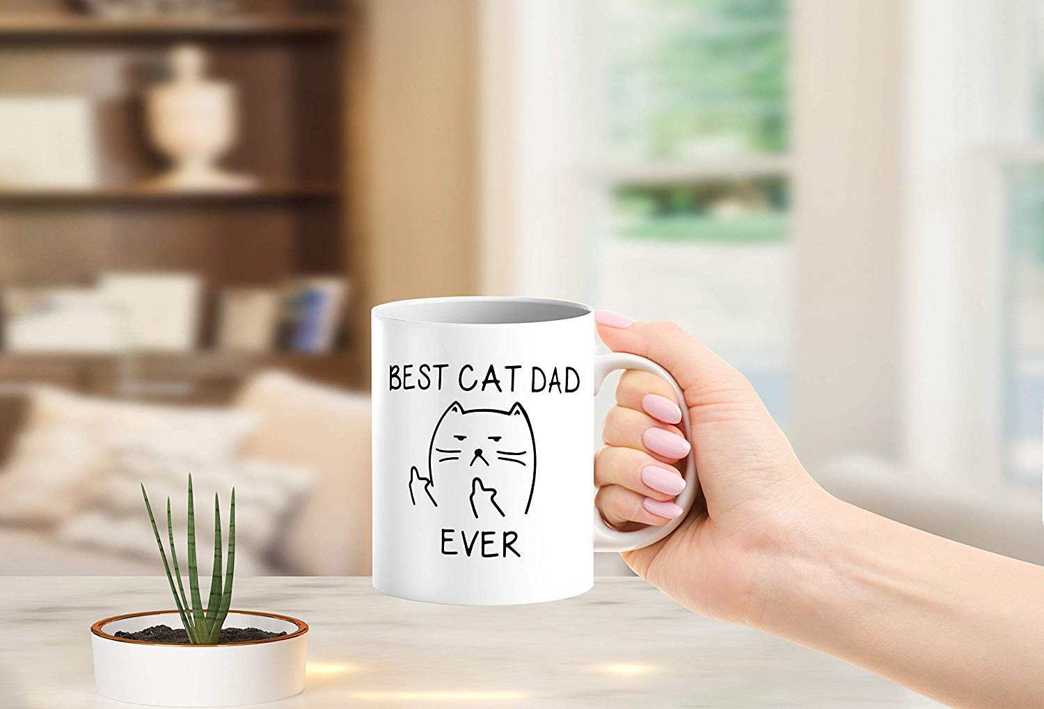 Best Cat Dad Ever Funny Lover Gifts Middle Finger Coffee Mug Unique Birthday Gift For