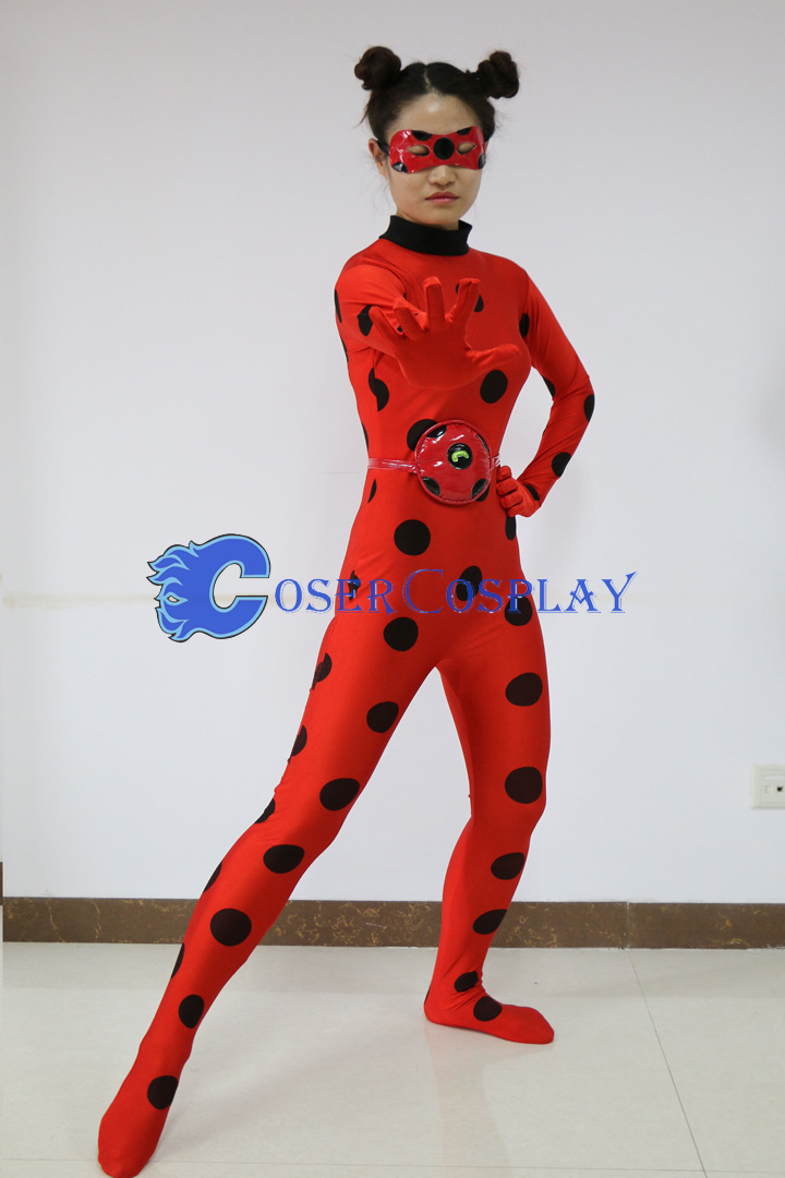 Stock Photo Zentai Miraculous Ladybug Marinette Catsuit Halloween Costume