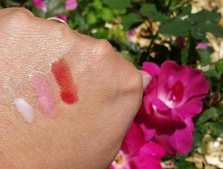 Colorescience Sunforgettable Lip Shine SPF 35 - Clear, Pink, and Siren (left to right) - swatched on hand