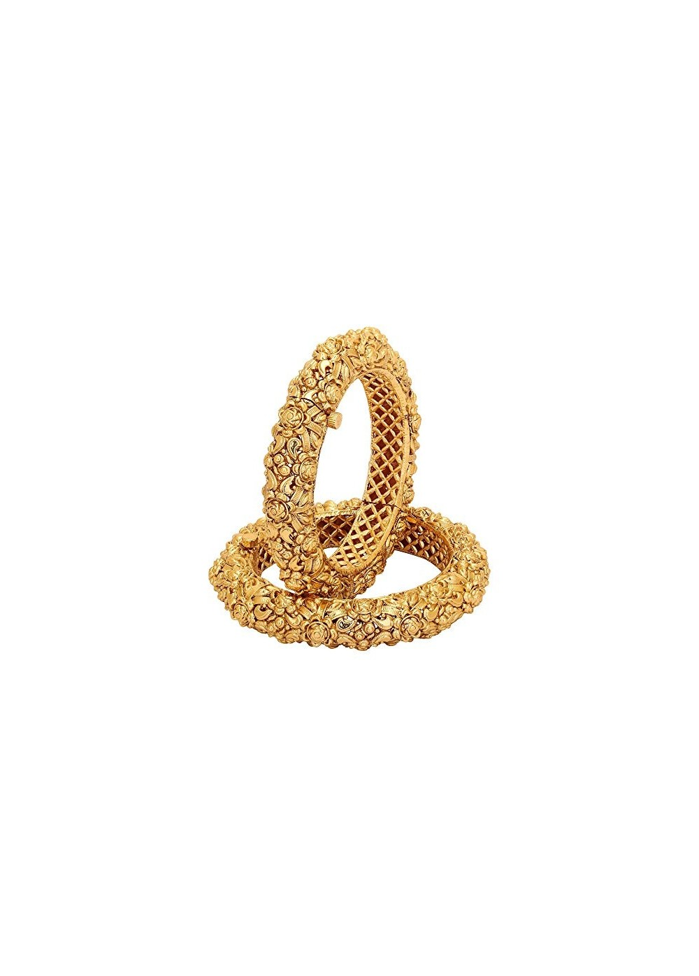 Royal Design Aarvi Collections 24k Gold Plated With Unique Royal Design Make Openable Polki Bangle For Girls Women