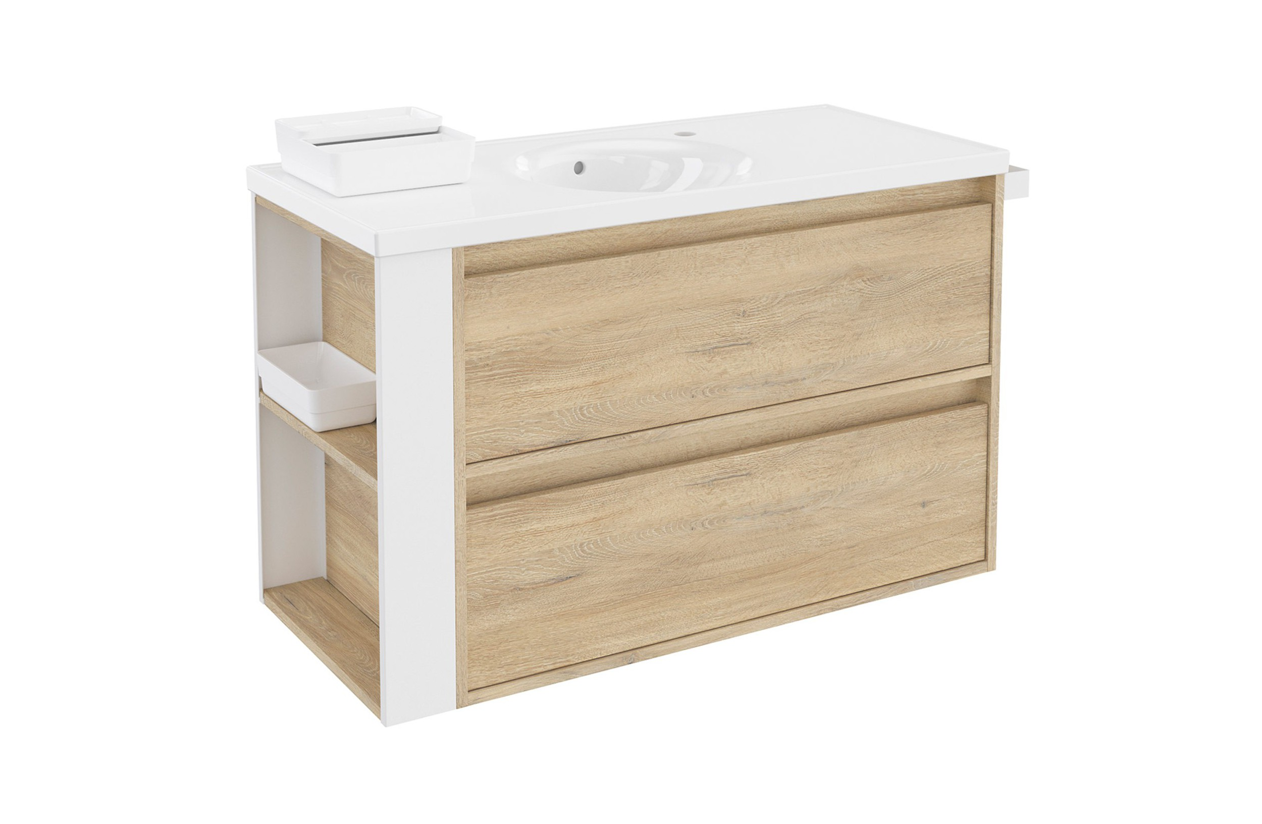 Toallero Mueble Lavabo Mueble B Smart 100 Cm Roble Nature Dos Cajones Con Lavabo Redondo Bath