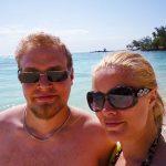 På stranden på Mauritius.