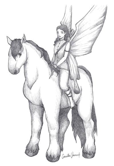 """På """"beställning"""" från en kursare under ett seminarium. Skulle bara vara hästen, blev sen en älva också."""